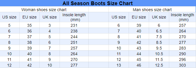 ABS size chart